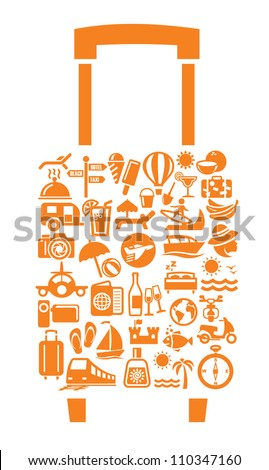 Travel suitcase with many icon on gray - stock vector