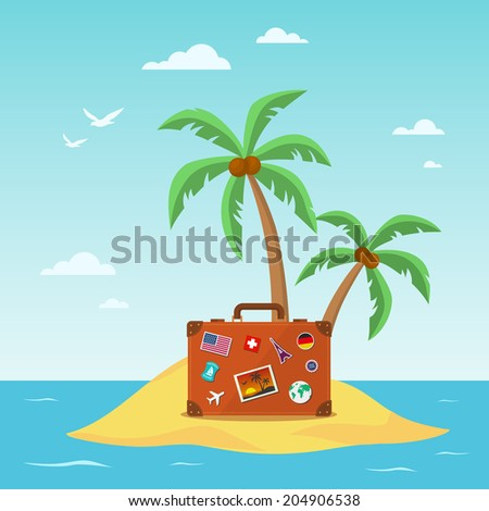 Travel suitcase with palmtrees. Eps 10 illustration