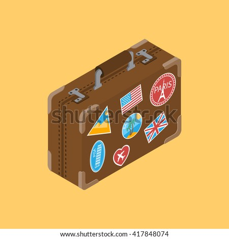 Travel suitcase with stickers popular tourist places. Leather suitcase. Old travel suitcase. Travel suitcase isolated, isometric. Bag baggage. Suitcase for trip. - stock vector