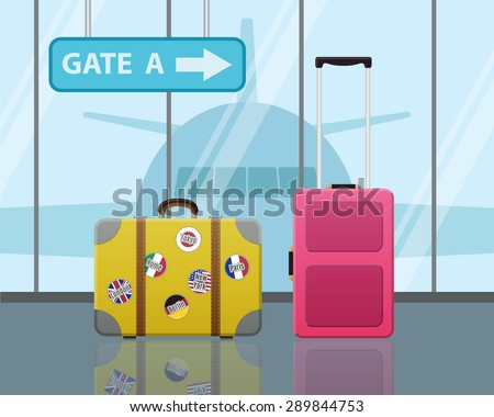 Travel suitcases in airport with a plane in background. Travel, Business trip concept. Modern Flat Design