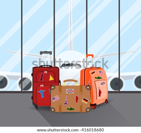 Travel suitcases in airport with a plane in background. Travel, Business trip concept. Vector illustration in flat design. travel and vacations concept - stock vector