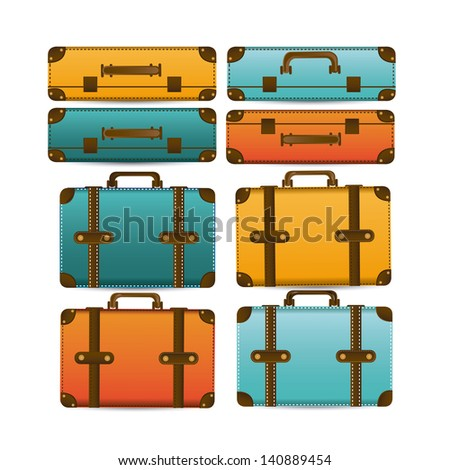travel suitcases over white background vector illustration - stock vector