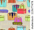 travel suitcases seamless illustration,vector - stock vector
