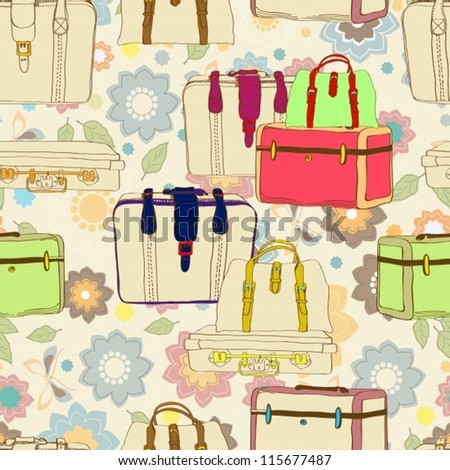 travel suitcases seamless illustration with floral patter,vector