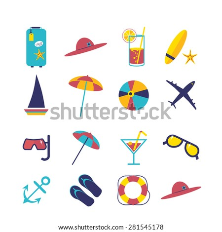 Travel summer flat icon illustration set. Flat design style modern vector illustrations of traveling on airplane, planning a summer vacation, tourism and journey objects - stock vector