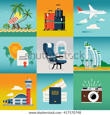 Travel summer trip destination and beach resort hotel square concept illustrations with palm beach, jet liner flight, travel insurance, luggage, airport, hotel, cabin seat, camera - stock vector