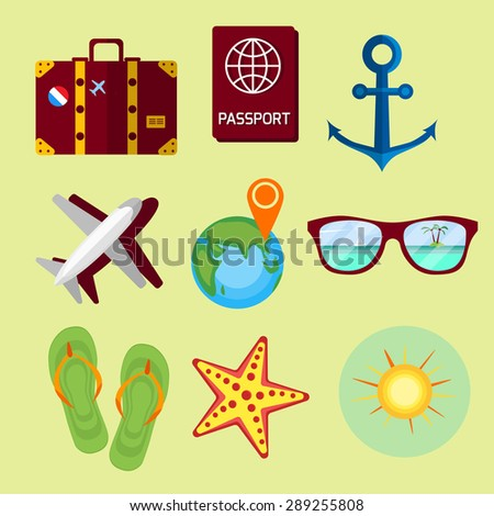Travel, summer vacation, beach rest: sun, sea, waves, suitcase, shoes, passport, map. Vector flat background and objects illustrations. Icon set. - stock vector