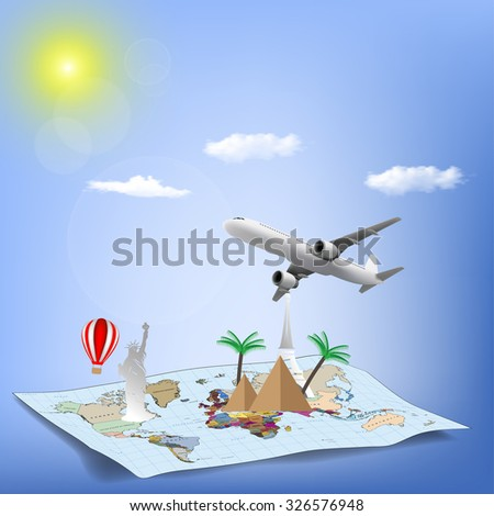 Travel the world monument concept - stock vector