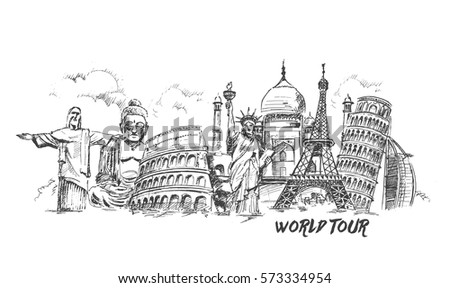 Travel the world monument concept, Hand Drawn Sketch Vector illustration.