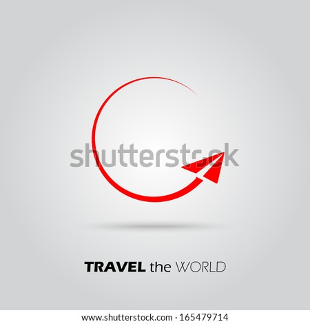 Travel the World paper Plane icon - stock vector