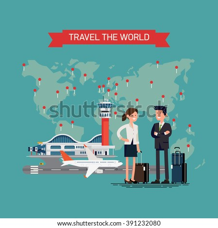 Travel the world vector concept illustration with abstract simplified world map with pins, airport terminal with jet airplane on runway and couple of people with luggage standing smiling - stock vector