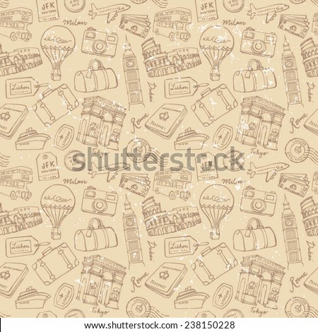 Travel theme seamless vector grunge background - stock vector