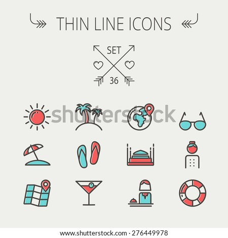 Travel thin line icon set for web and mobile. Set include-beach umbrella, slippers, map, sun, sunglasses, palm tree icons. Modern minimalistic flat design. Vector icon with dark grey outline and - stock vector