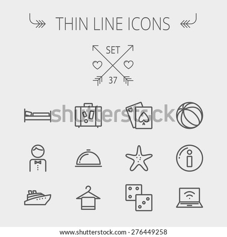 Travel thin line icon set for web and mobile. Set includes- luggage, food cover, towel on a hanger, bed, waiter, beach ball, starfish, cruise ship icons. Modern minimalistic flat design. Vector dark - stock vector
