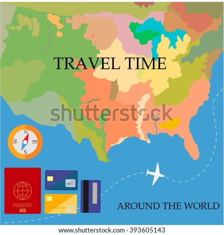 Travel time around the world.Flat design.passport,card,map,compass
