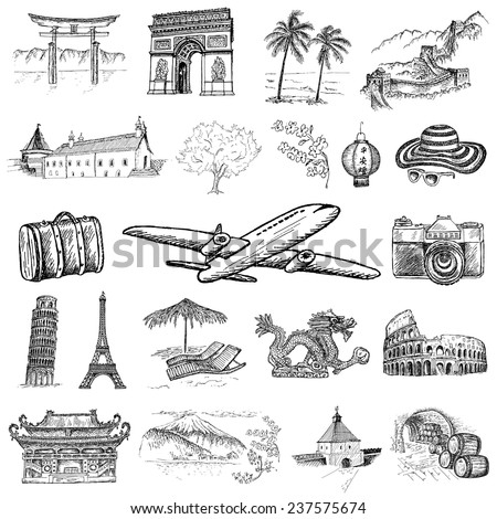 travel time. hand drawing set of vector sketches - stock vector