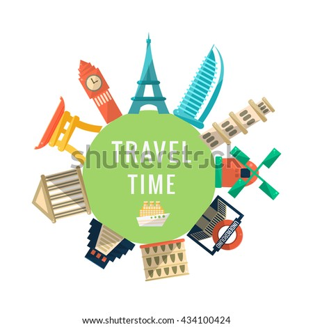 Travel Time Logo With Famous Buildings. World Capitals Symbolic Buildings Around The Text Flat Illustration. Flat Cartoon Style  - stock vector