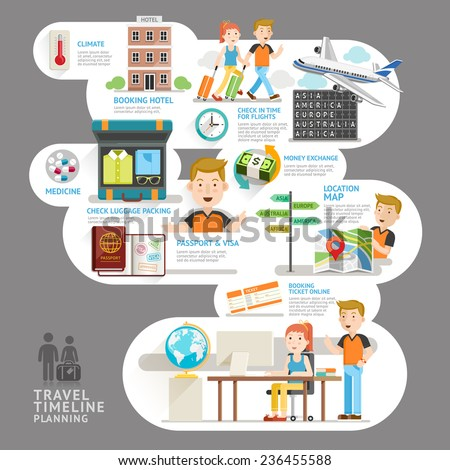 Travel timeline planning element. Vector illustration. Can be used for workflow layout, banner, number options, step up options, web design, diagram, infographics. - stock vector