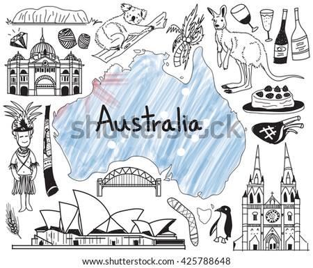 Travel to Australia doodle drawing icon with people, culture, costume, landmark and cuisine tourism concept in isolated background, create by vector