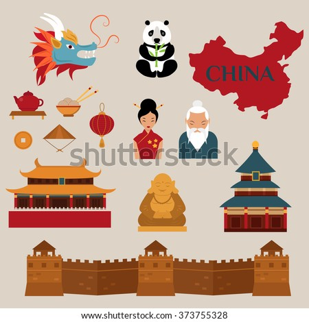 Travel to China vector icons illustration. Chinese architecture, Chinese  food and traditional costumes. Travel to China design elements for infographic
