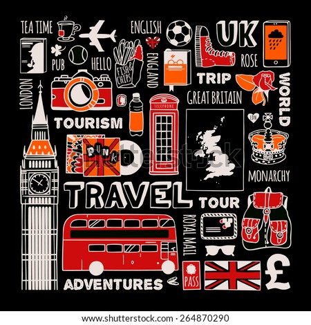 Travel to England set. - stock vector