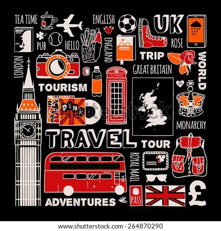 Travel to England set. - stock vector