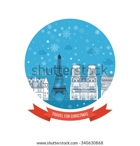 Travel to Europe. Travel to France for christmas and New Year. Cute invitation card with winter city life and space for text. Merry Christmas greeting card design. Paris Christmas winter.  - stock vector