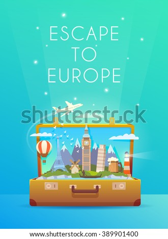 Travel to Europe. Vertical travel banner. Open suitcase with landmarks.  Flat style.  - stock vector