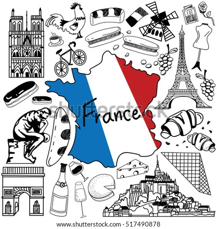 Travel to France doodle drawing icon. Doodle with culture, costume, landmark and cuisine of France tourism concept in isolated background, create by vector