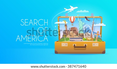 Travel to North America. Open suitcase with landmarks. Flat style. - stock vector