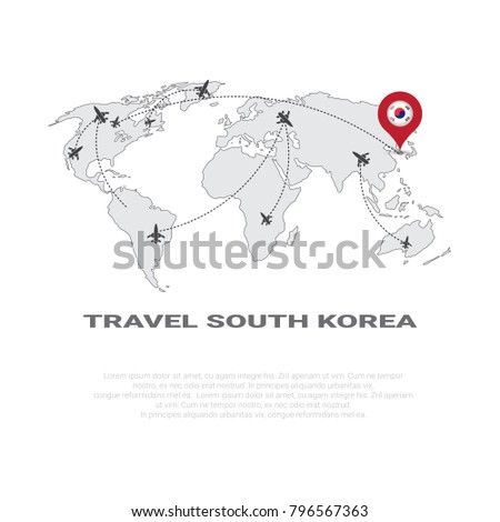 Travel south korea poster world map vectores en stock 796567363 travel to south korea poster world map background tourism destination concept poster with copy space vector gumiabroncs Images