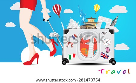 Travel to the world famous monuments with girl drag suitcase with window of airplane see the famous monuments, women walk and hold suitcase, world travel concept - stock vector