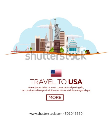 Travel to USA, New York Poster skyline. Statue of Liberty. Vector illustration