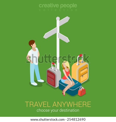 Travel tourism destinations flat 3d web isometric infographic concept vector. Sexy young woman sitting on suitcase and her companion at crossroads and route direction sign. Creative people collection. - stock vector