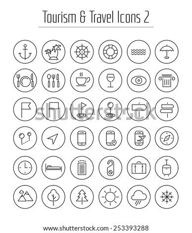 Travel, tourism, hotel and weather thin line icons with circles, set 2 - stock vector