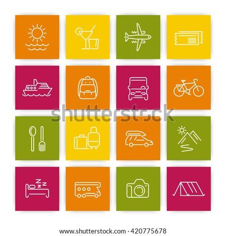 Travel, tourism linear icons set, recreation, trip, tour, line pictograms on squares, vector illustration - stock vector