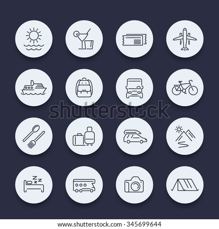 Travel, tourism, trip, recreation, vacation line round icons, vector illustration - stock vector