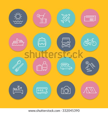 Travel, tourism, trip, tour line icons in color circles with shadow, vector illustration - stock vector