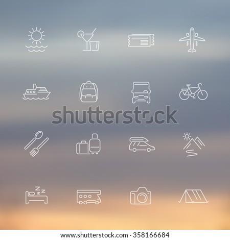 Travel, tourism, trip, vacation line icons, transparent set, vector illustration - stock vector