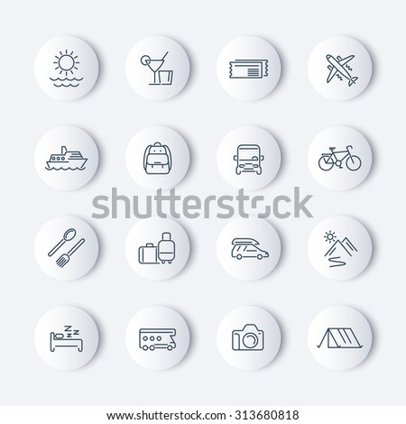 Travel, tourism, trip, vacation line round icons, vector illustration