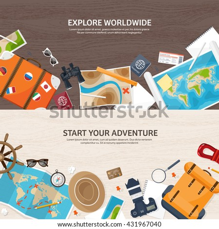 Travel,tourism vector illustration in a flat style.World travel banner.Summer holidays, vacation.Travel around the world.Journey,trip plan.Tourists tips.International tourism.World map,camera,backpack