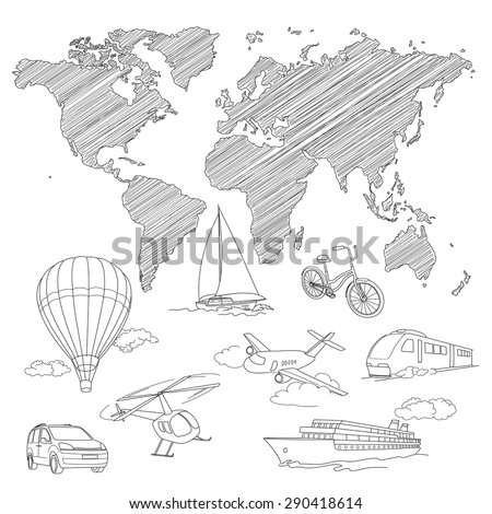 Travel Transport and world map line sketch vector - stock vector