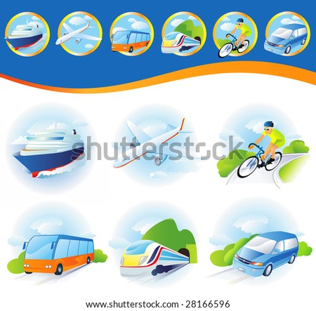 Travel transportation icon set. Vector. Vehicles icons - stock vector