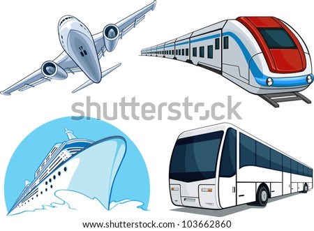 Travel Transportation Set - Airplane, Bus, Cruise Ship, and Train - stock vector