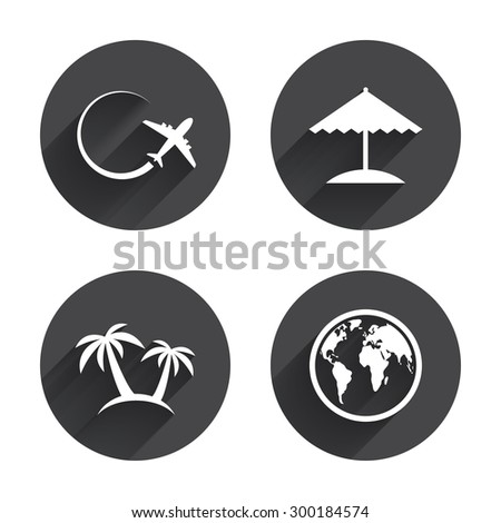 Travel trip icon. Airplane, world globe symbols. Palm tree and Beach umbrella signs. Circles buttons with long flat shadow. Vector - stock vector