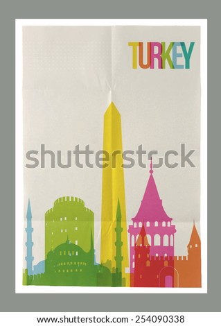 Travel Turkey famous landmarks skyline on vintage paper sheet poster design background. Vector organized in layers for easy create your own postcard, brochure or marketing campaign. - stock vector