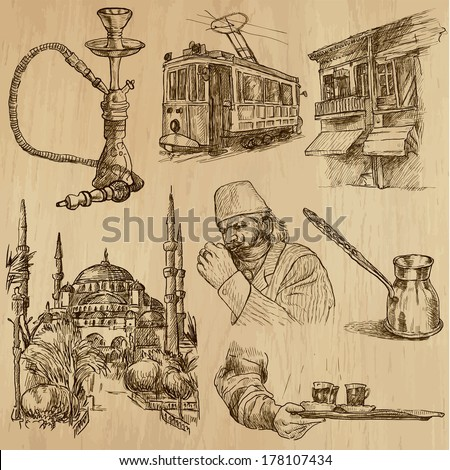 Travel : TURKEY set no.3. Collection of hand drawn illustrations. Each drawing comprises two or three layers of outlines, the colored background is isolated. - stock vector
