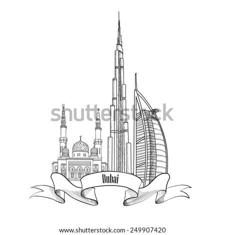 Travel UAE symbol. Dubai city label.  - stock vector
