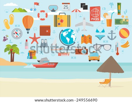 Travel vacation flat design set. Vector concept illustration. Travel banner.