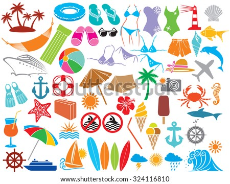 travel vacation icons (beach or summer icons - hammock, swimsuit, bikini, palm, hibiscus flower, straw umbrella, cocktail, lighthouse, anchor, lifesaver, starfish, ice cream, compass, rudder) - stock vector